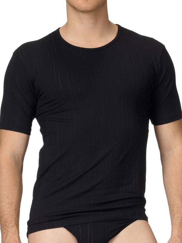 CALIDA Pure & Striped Tshirt schwarz
