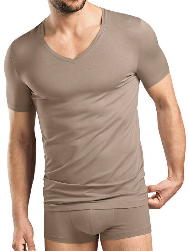 Hanro Cotton Superior V-Shirt mud