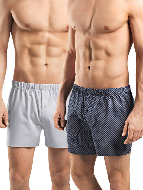 Hanro Fancy Woven Boxer 2erPack minimal print/light grey