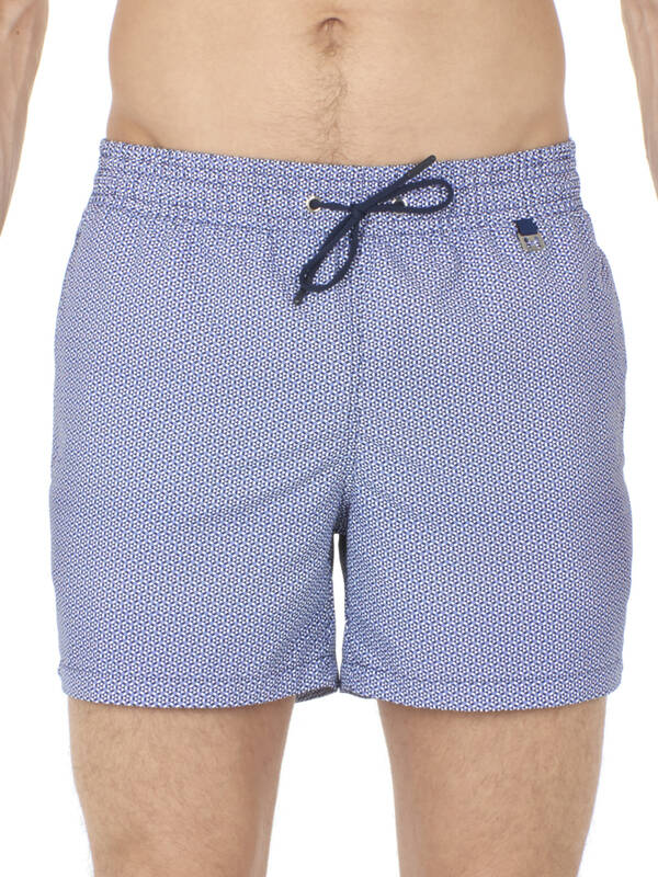 HOM Swim Beach Boxer Topaz navy/white
