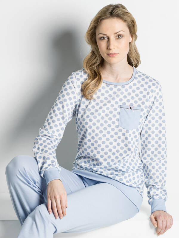 ISA Pyjama Bio-Cotton lang lightblue