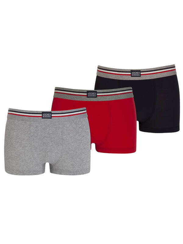Jockey 3erPack Short Trunk Cotton Stretch stone/red/grey
