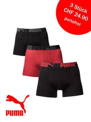 PUMA 3erPack Cat Boxer black/red