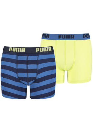 PUMA Junior Striped Boxer 2erPack sharp green