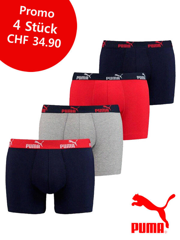 PUMA 4erPack Basic Boxer navy-red