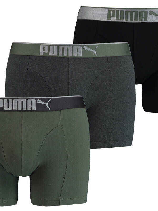 PUMA Lifestyle Sueded Cotton Boxer 3erPack army-green