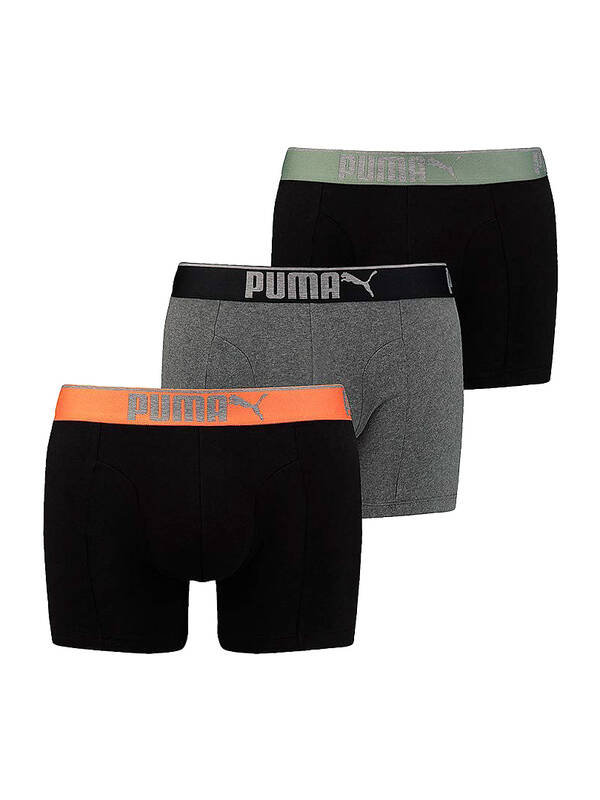 PUMA Lifestyle Sueded Cotton Boxer 3erPack black/orange
