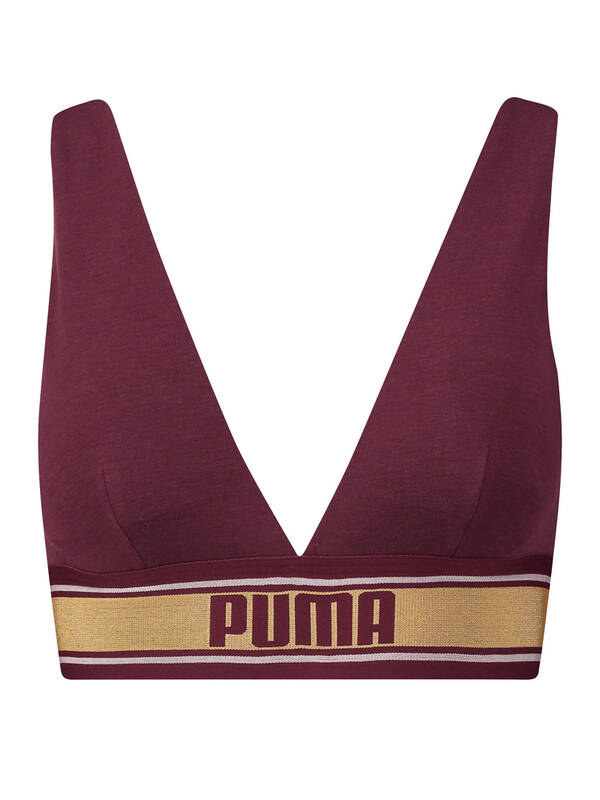 PUMA V-Neck Padded Top bordeaux/gold