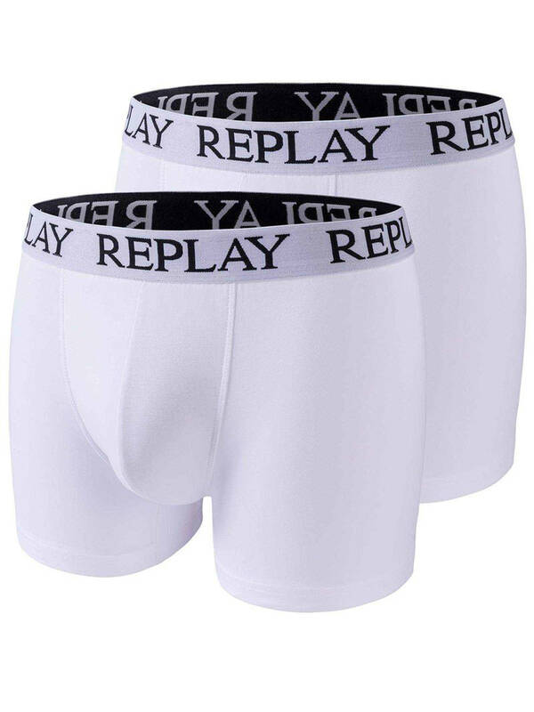 REPLAY Trunks Cotton Stretch Basic 2erPack white