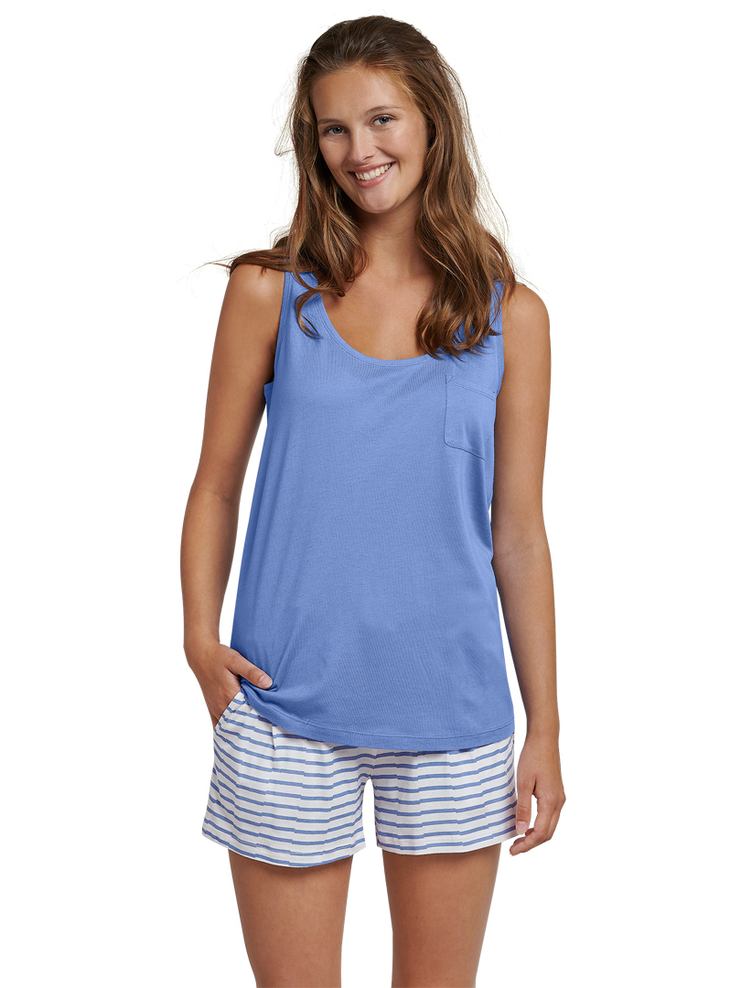 sale retailer 859b5 ea42e Schiesser Damen Pyjama kurz atlantikblau Nightwear ...