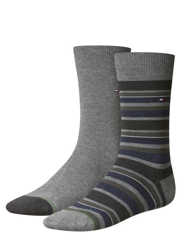Tommy Hilfiger Variation Stripe Socks 2erPack middle grey mélange