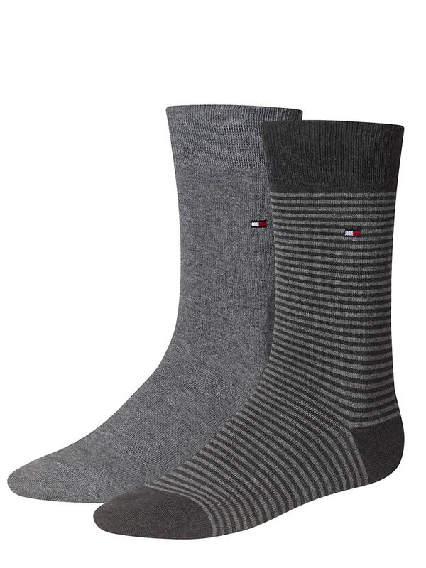 Tommy Hilfiger Small Stripes Socks 2erPack middle grey mélange
