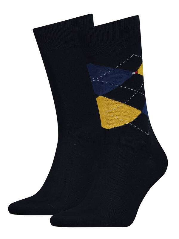 Tommy Hilfiger 2erPack Check Socks yellow/blue